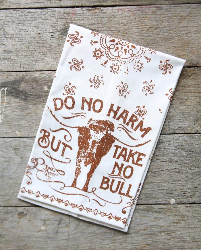Do No Harm, Take no Bull Paisley Print Tea Towel