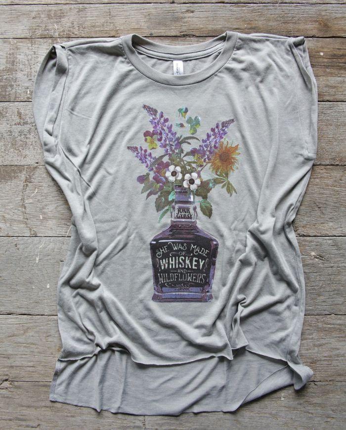 whiskey & wildflowers muscle tee