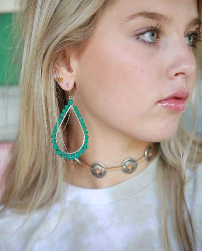 turquoise  beaded hoops