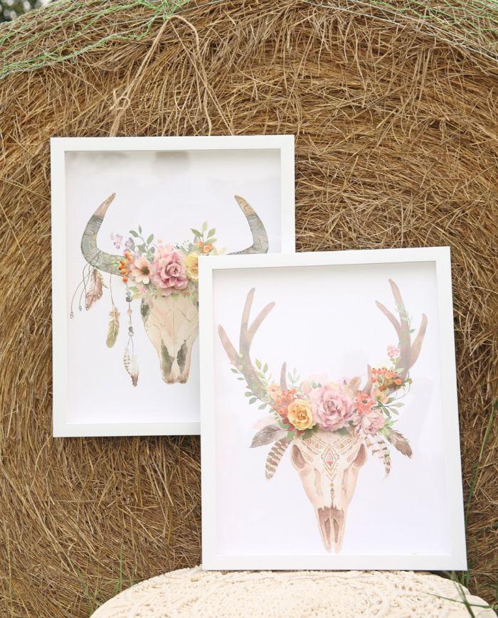 boho flower skull art