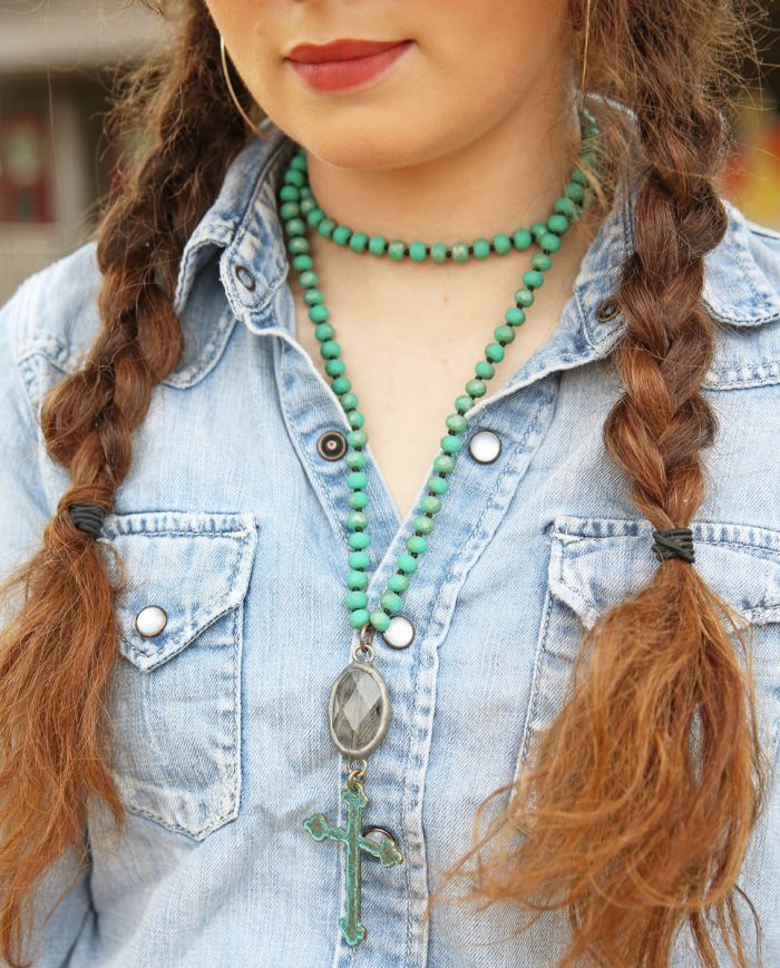 vagabond cross necklace - turquoise quartz