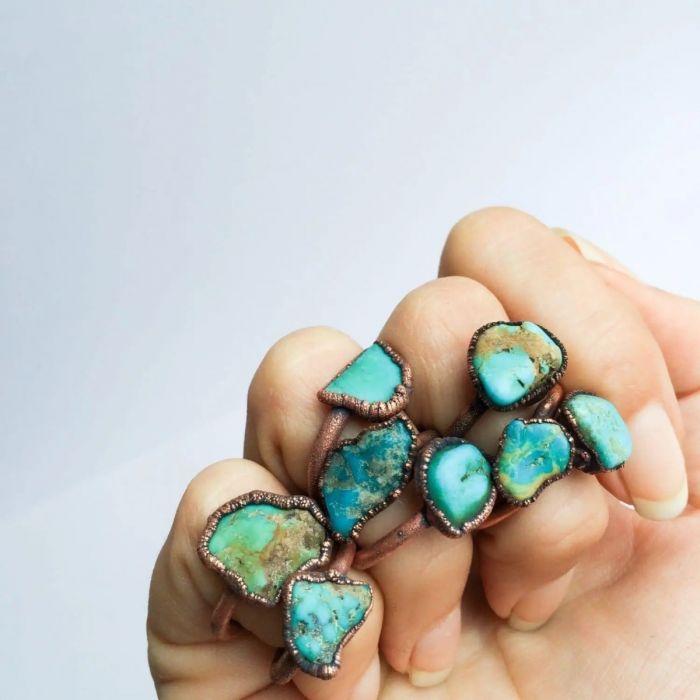 raw turquoise stacking ring