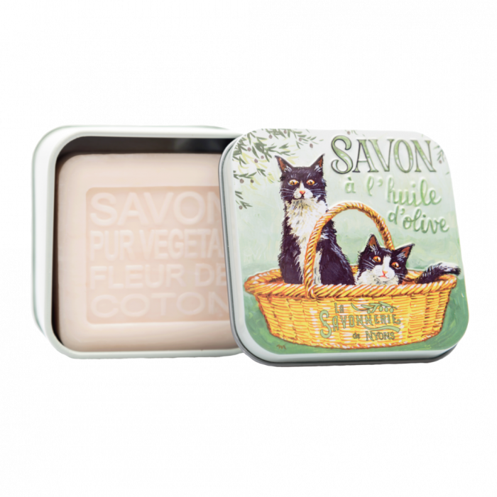 "100g Soap in Tin Box ""Chat Noir & Blanc"""