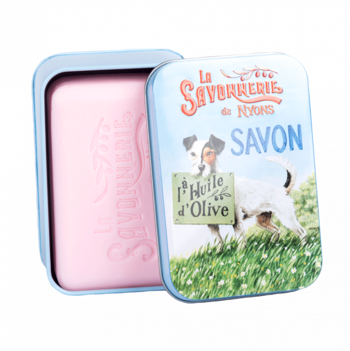"200g Soap in Tin Box ""Chien Jack Russell"" Savon Rose"