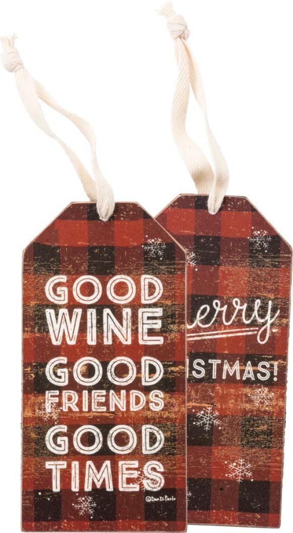 good wine plaid christmas bottle tag