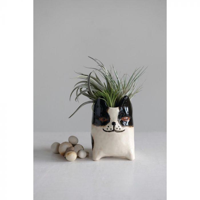 stoneware dog planter