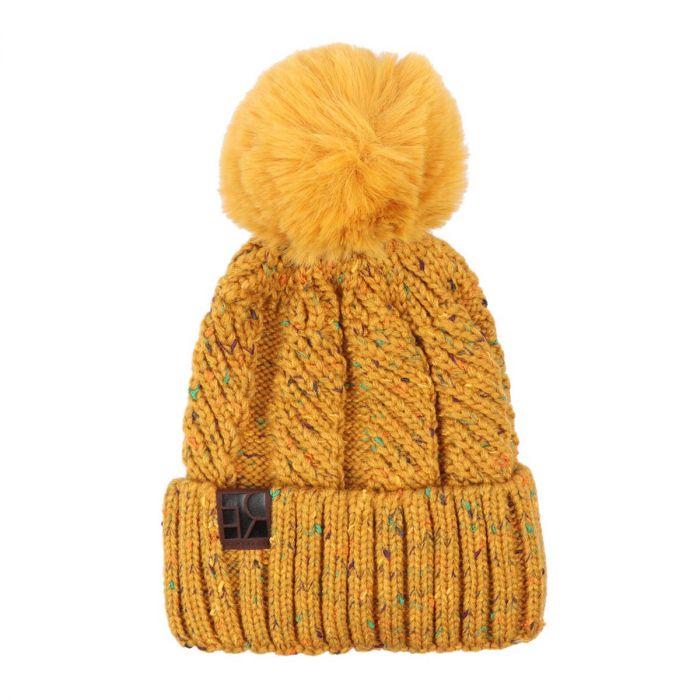 knitted pom beanie - mustard