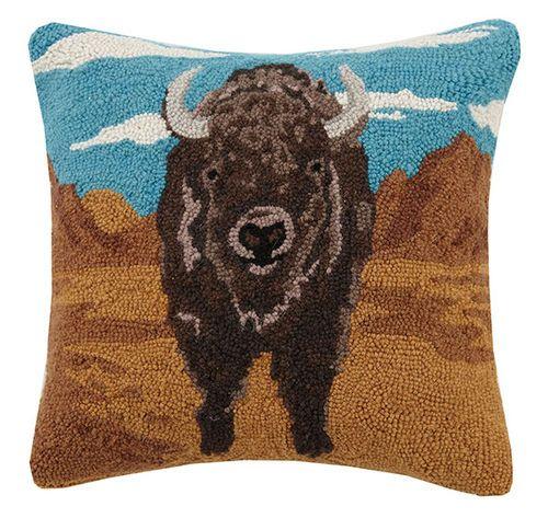 desert buffalo hooked pillow