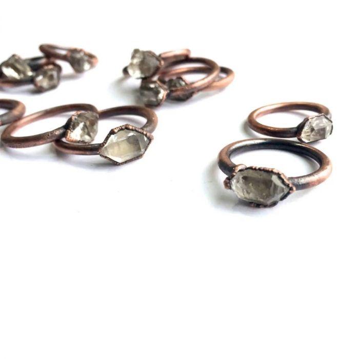 herkimer diamond crystal ring