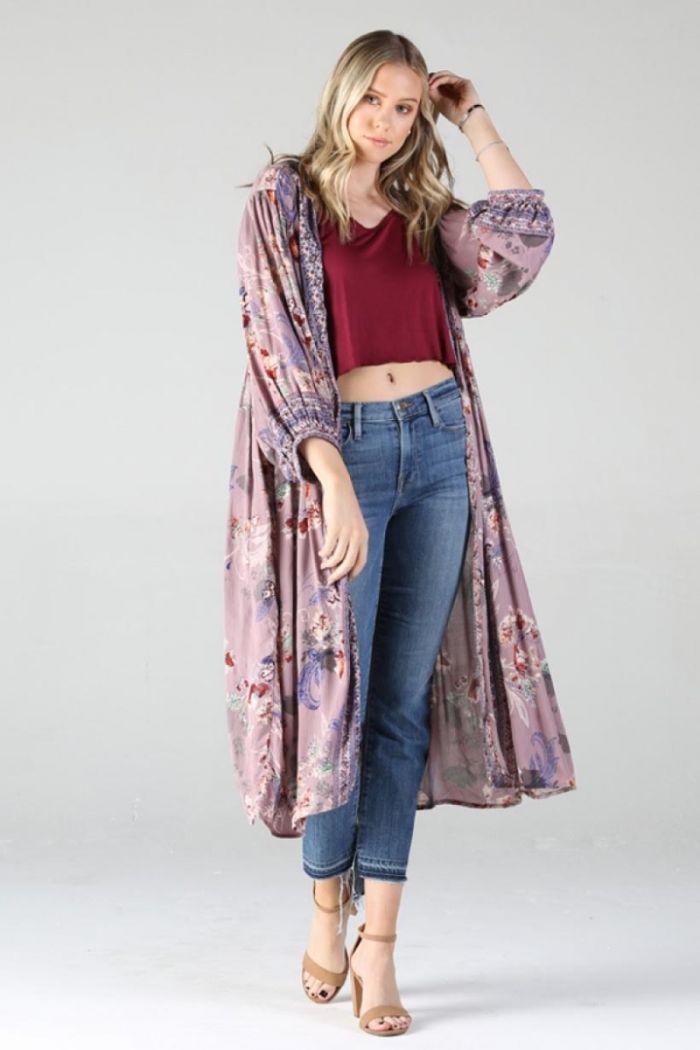 lilac wine floral kimono