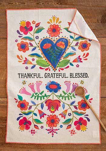 Thankful. Grateful. Blessed dish towel