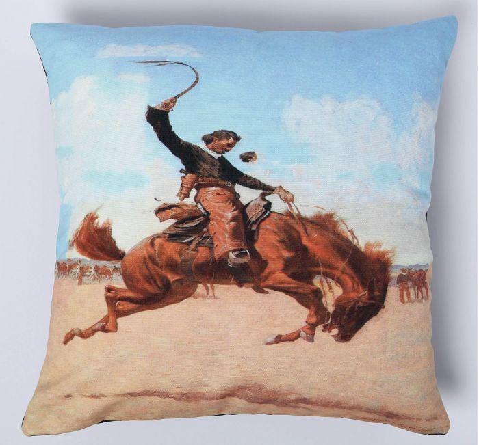 blue sky bronc pillow