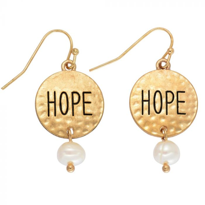 hammered hope drop earring