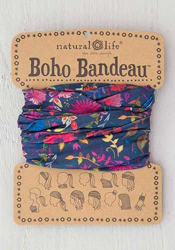 boho bandeau - navy wildflowers