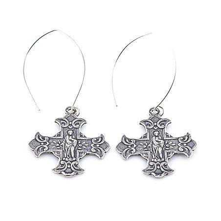 floral cross earring