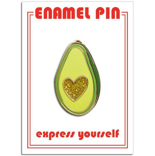 avocado glitter heart pin