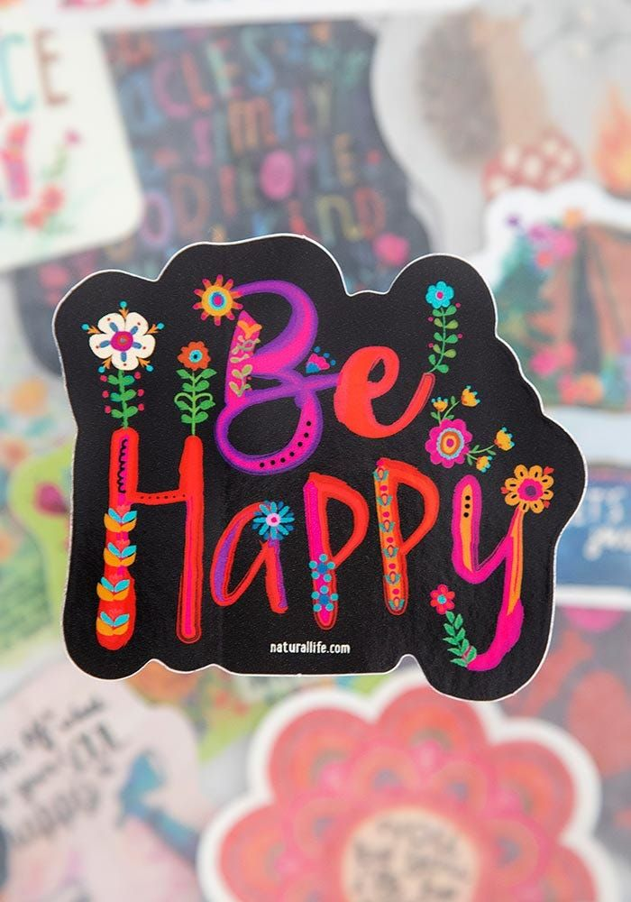 black happy floral sticker