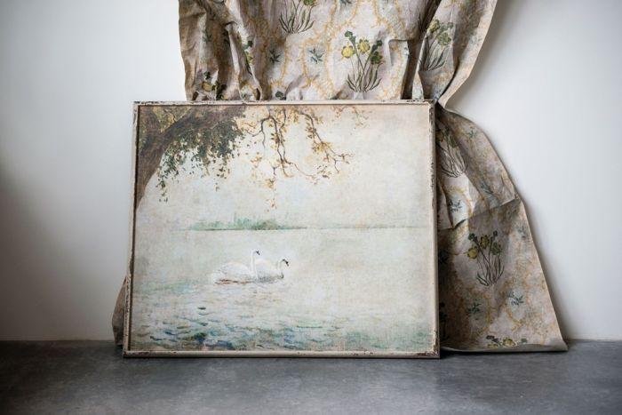 swan lake wood framed decor