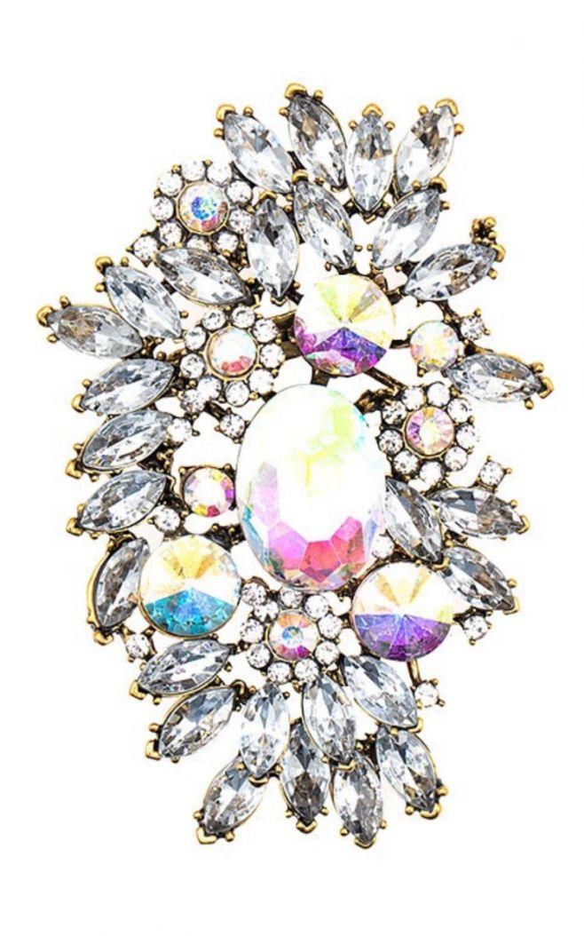 elaborated crystal gem brooch