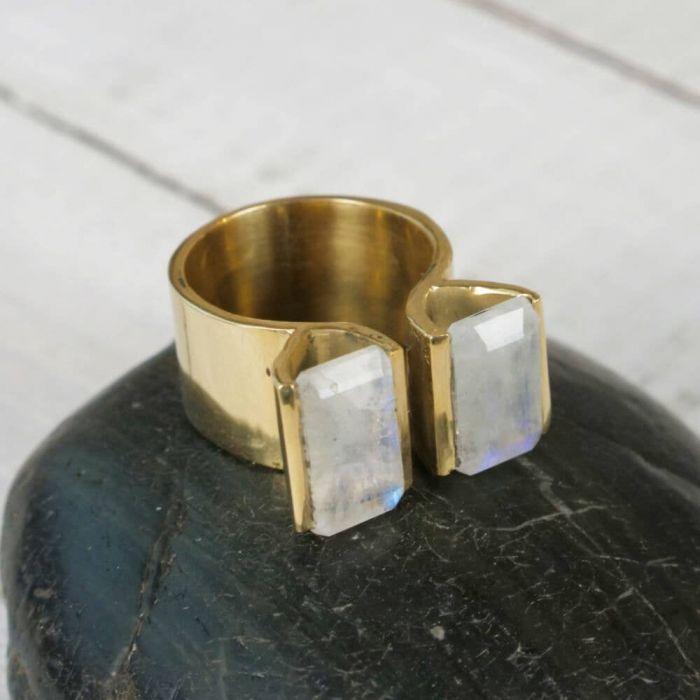 moonstone rectangle cut ring