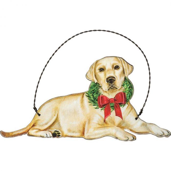 christmas yellow lab ornament