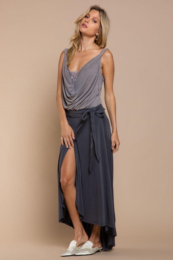 charcoal knit wrap skirt