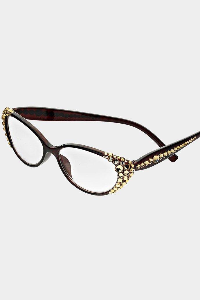 side crystal reading glasses