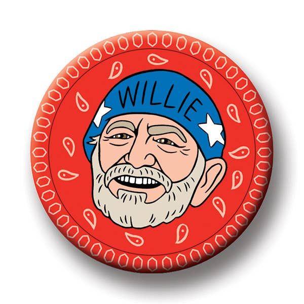 willie nelson round magnet