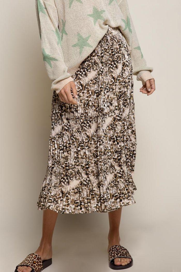 champagne leopard woven skirt