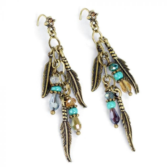 feathers & beads earrings