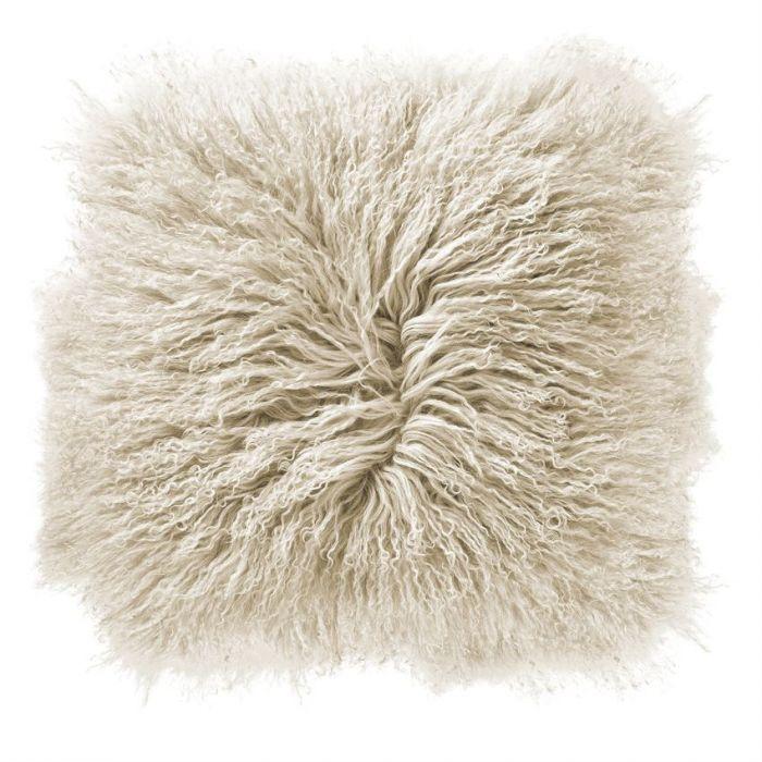 "16"" cream mongolian lamb pillow"