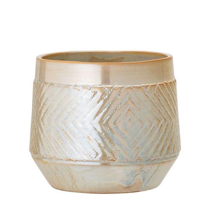 """6.5"""" stoneware planter- pearl"""