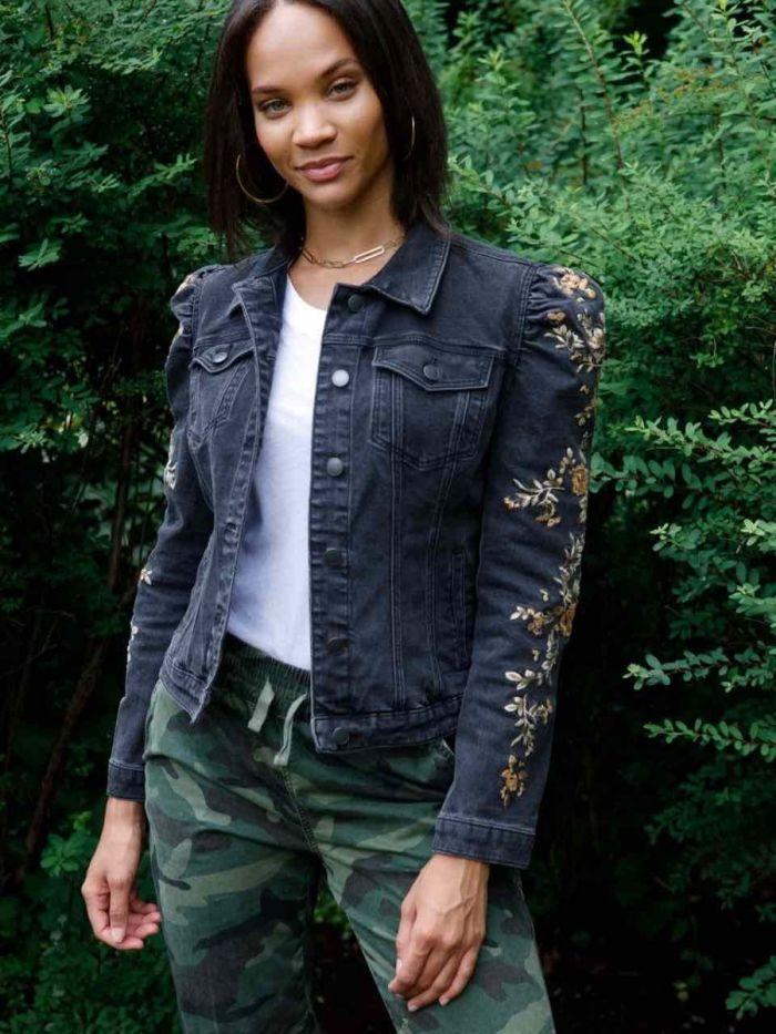 gigi black denim embroidered jacket