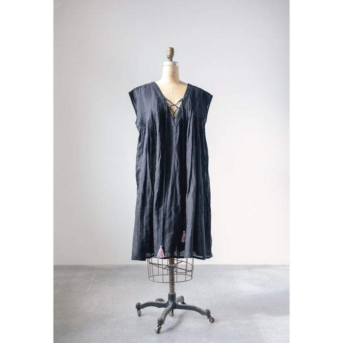 black linen adelyn dress