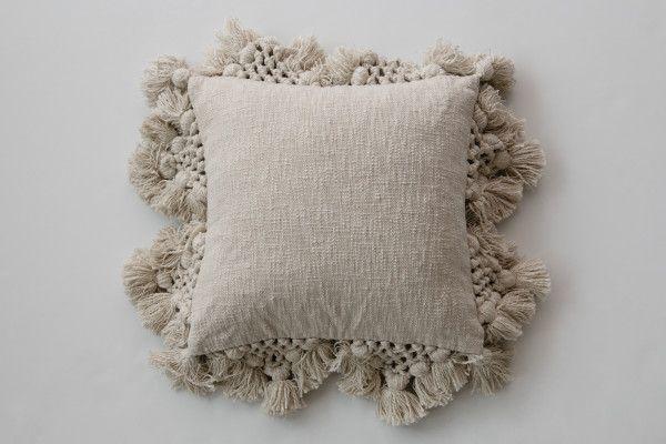 Square Crochet & Tassels Cream Cotton Slub Pillow