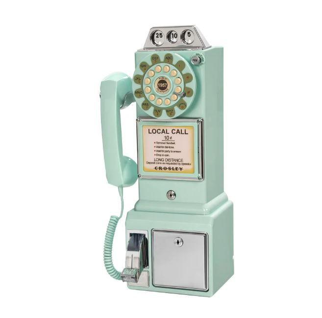 retro aqua blue payphone