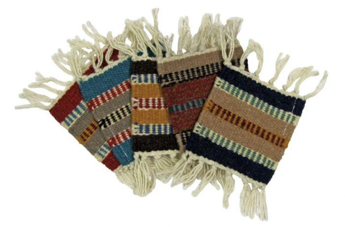 "5"" x 5"" handwoven wool coaster"
