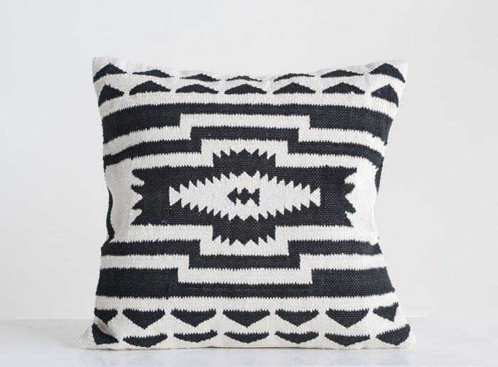 black & natural kilim pillow
