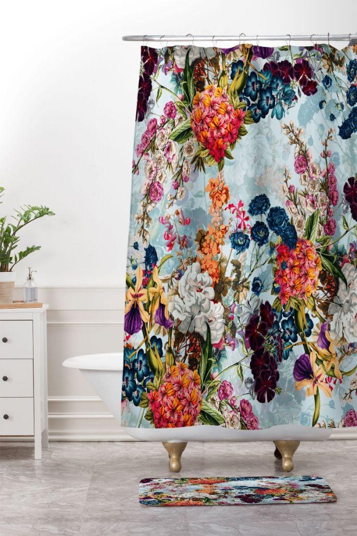 summer botanical garden shower curtain & mat