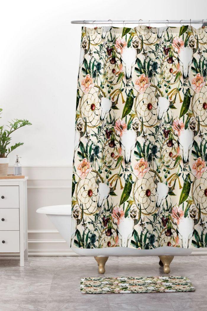 Romantic Boho Floral Skull Shower Curtain & Mat