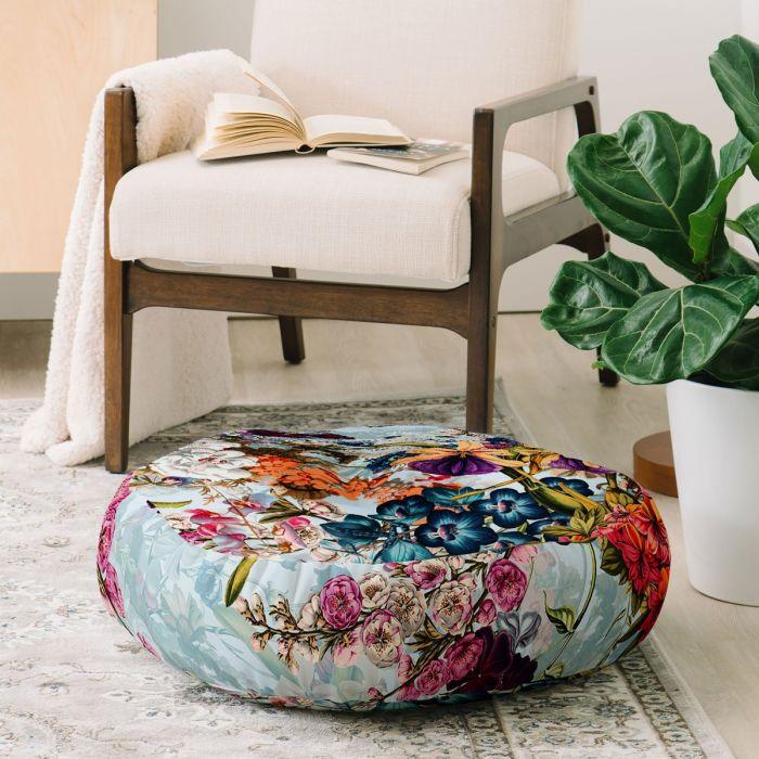 summer botanical garden round floor pillow