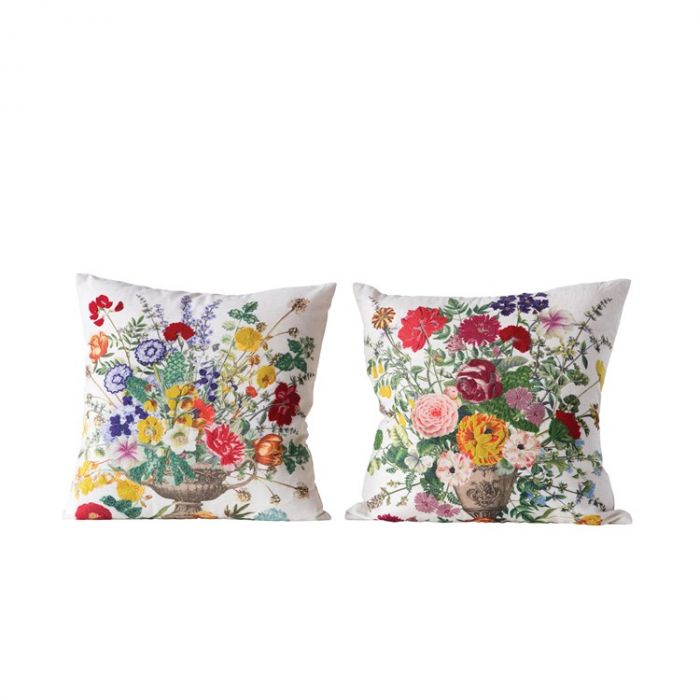 "18"" floral embroidered pillow"