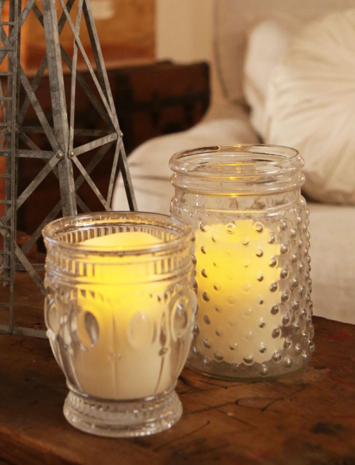 farmhouse embossed glass jar