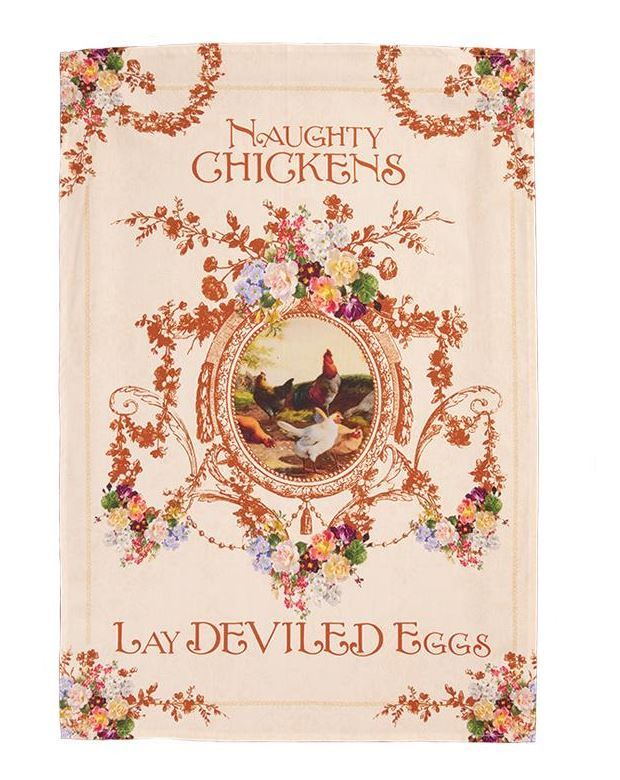 naughty chickens tea towel