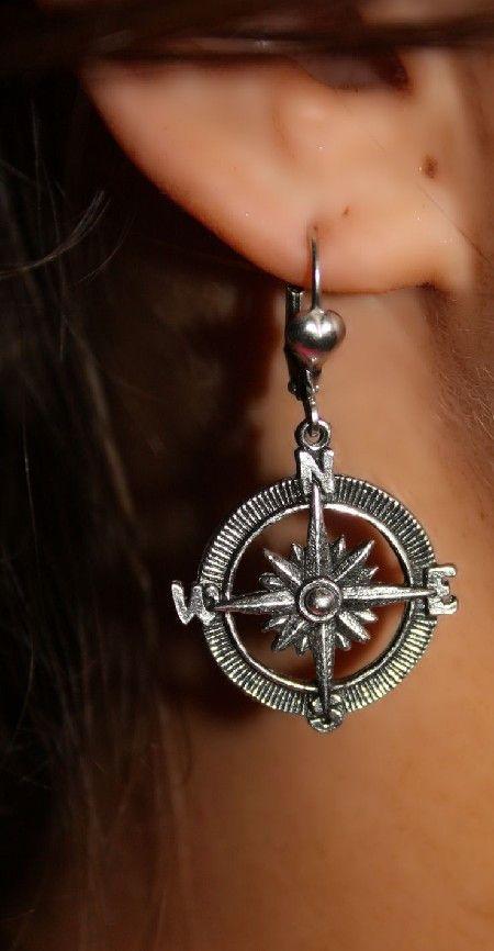 world travelin compass earrings