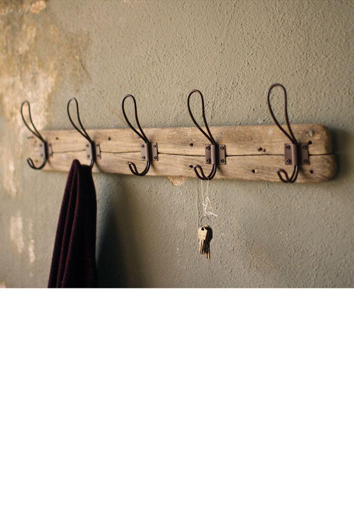 recycled wooden coat rack