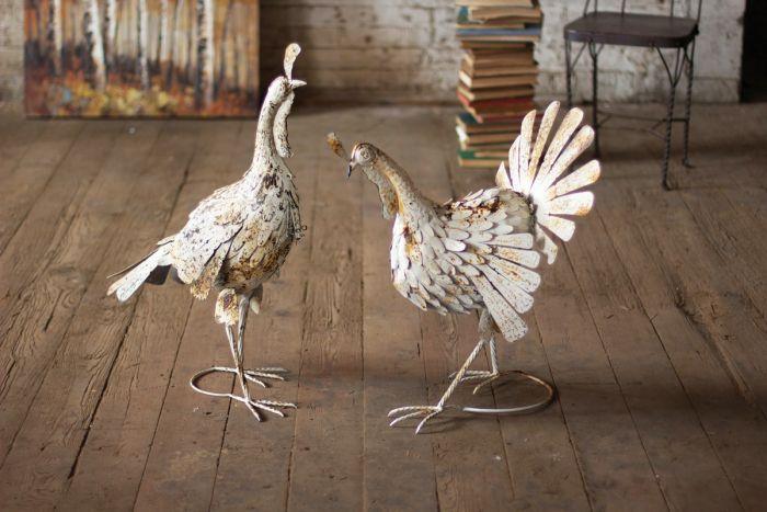 antique white metal turkey