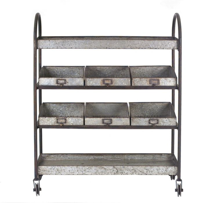 Warehouse Vintage style metal 4-tier cart