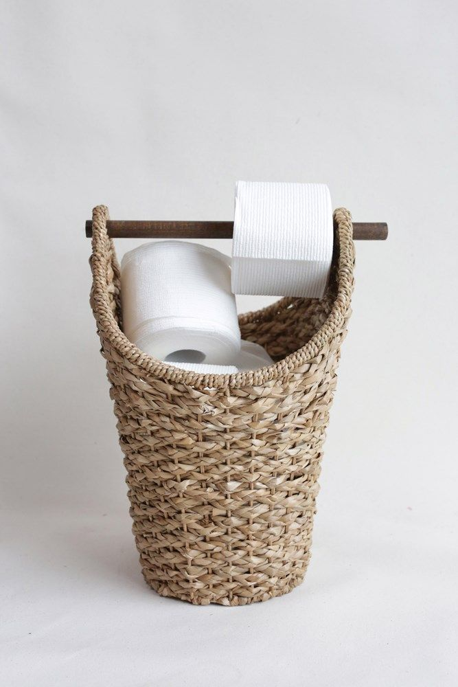 Bankuan Braided Oval Toilet Paper Basket with Wood Bar