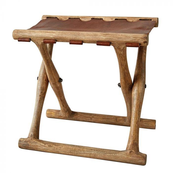 leather folding stool